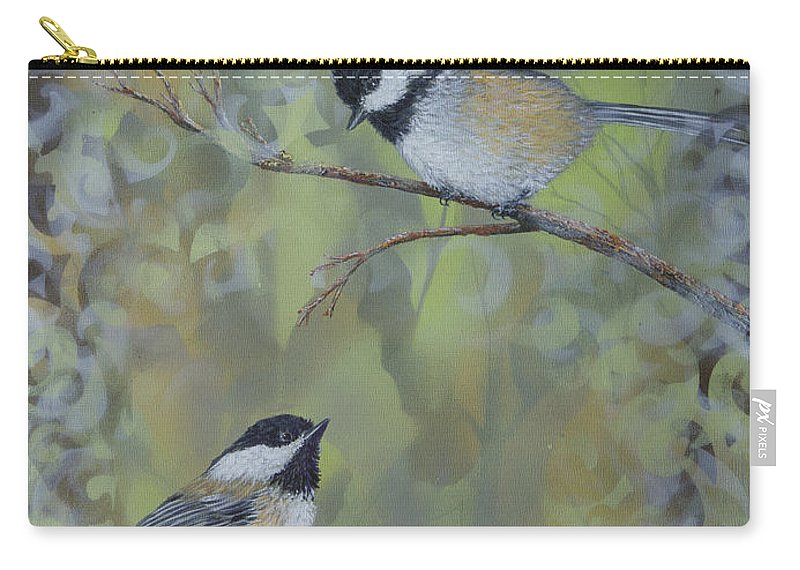 Chickadee Carry-all Pouch featuring the painting The Nature Of Innocence by Dee Carpenter