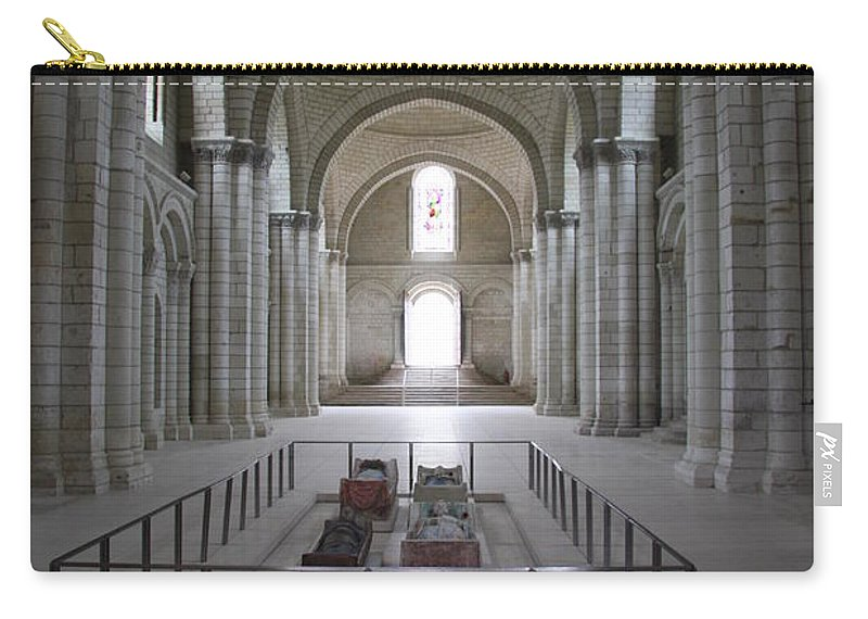 Cloister Carry-all Pouch featuring the photograph The Nave With Tombs Fontevraud Abbey by Christiane Schulze Art And Photography
