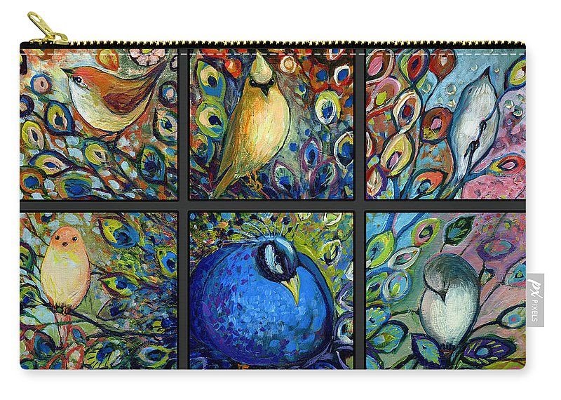 Peacock Carry-all Pouch featuring the painting The NeverEnding Story Set of 9c by Jennifer Lommers