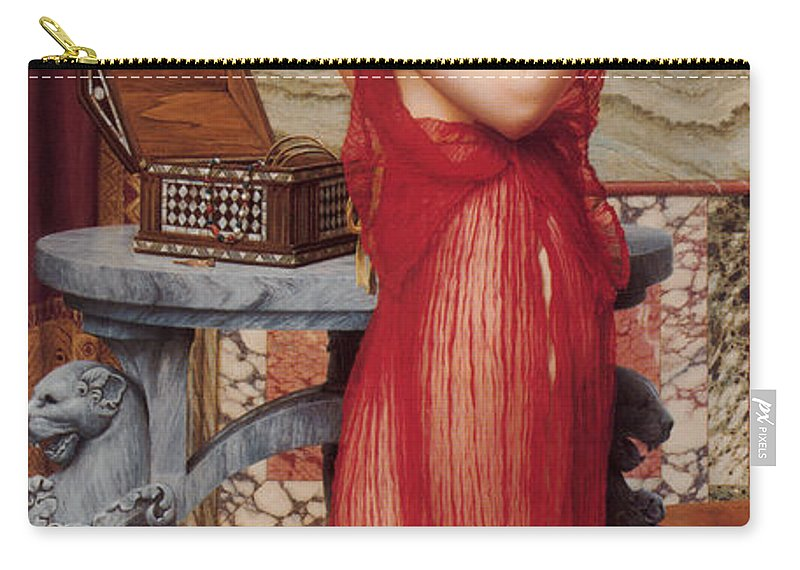 John William Godward Carry-all Pouch featuring the digital art The New Perfume by John William Godward