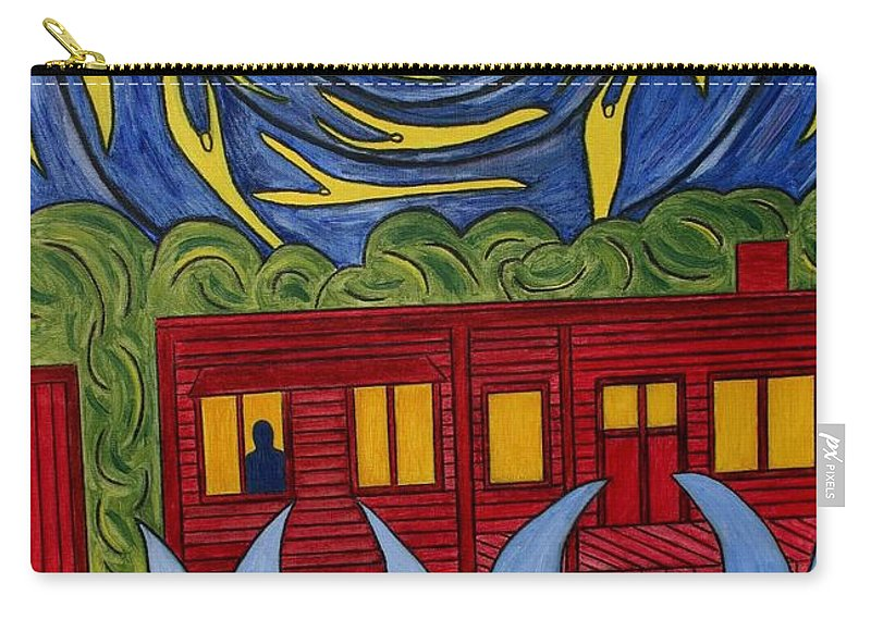 Angel Carry-all Pouch featuring the painting The Night Angels Came by Sandra Marie Adams