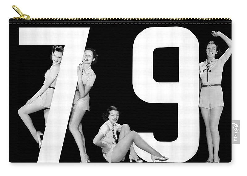 1935 Carry-all Pouch featuring the photograph The Number 79 And Four Women by Underwood Archives