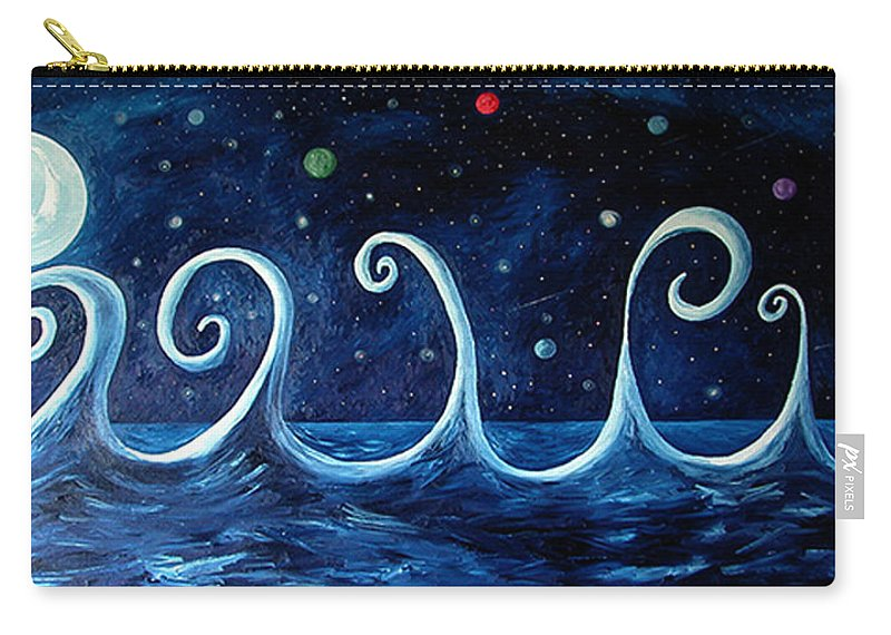 Moon Carry-all Pouch featuring the painting The Ocean, The Moon And The Stars by Bert Munoz