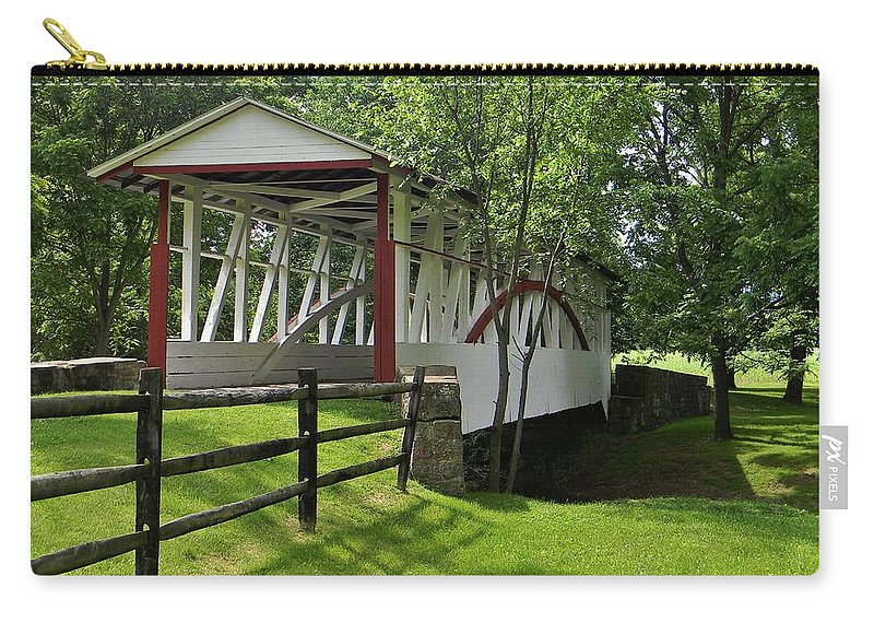 Covered Bridge Carry-all Pouch featuring the photograph The Old Covered Bridge by Jean Goodwin Brooks