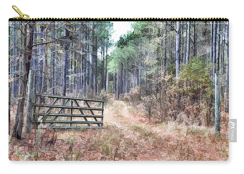 Hunting Carry-all Pouch featuring the photograph The Old Deer Gate by Scott Hansen