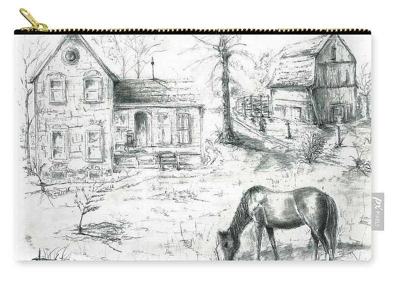 Old Horse Farm Tree Barn House Champion Winner Circle Carry-all Pouch featuring the painting The Old Horse Farm by Bernadette Krupa