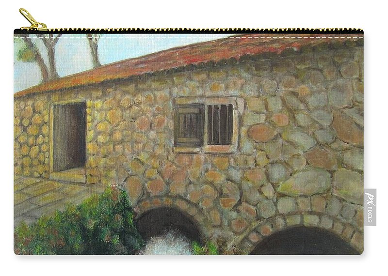 Mill Carry-all Pouch featuring the painting The Old Mill In Dubrovnik by Laurie Morgan