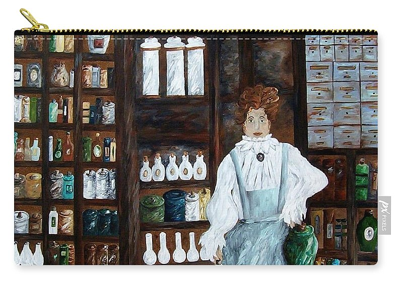 Apothecary Carry-all Pouch featuring the painting The Old Pharmacy ... Medicine In The Making by Eloise Schneider