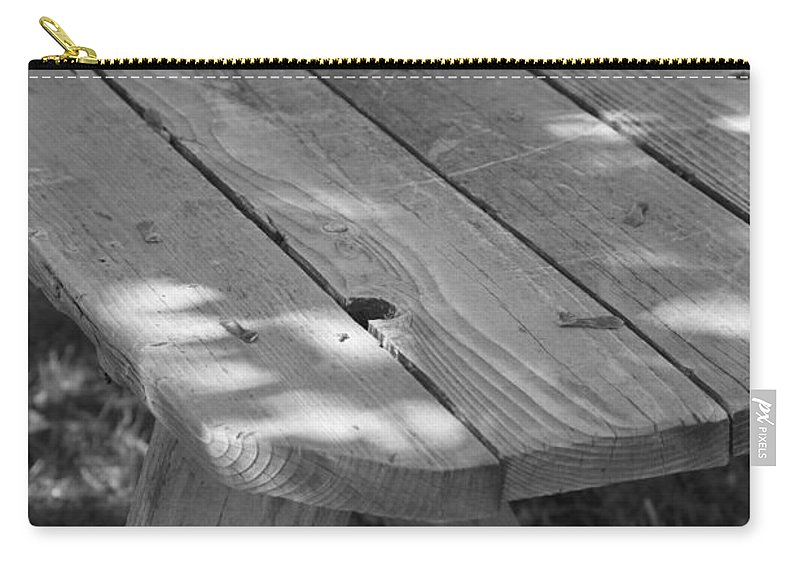 Black And White Carry-all Pouch featuring the photograph The Old Picnic Table by Jennifer E Doll