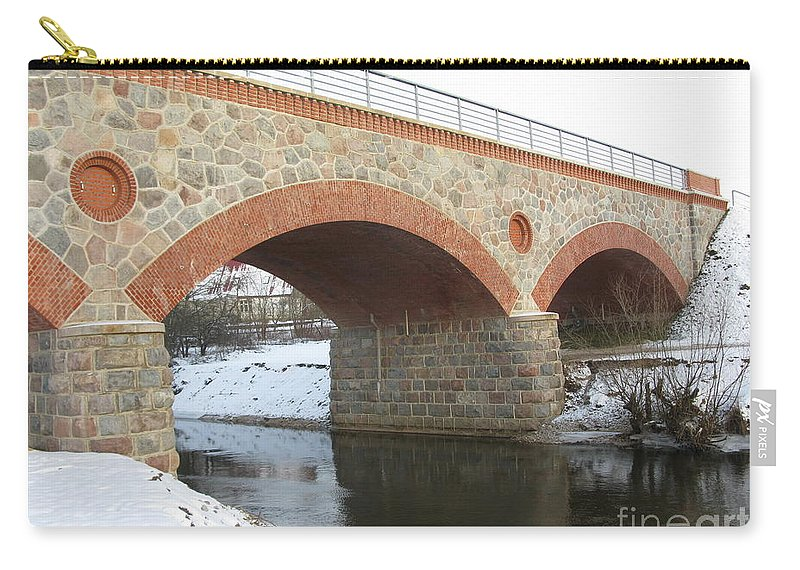 Railway Bridge Carry-all Pouch featuring the photograph The Old Railway Bridge In Silute. Lithuania. Winter by Ausra Huntington nee Paulauskaite