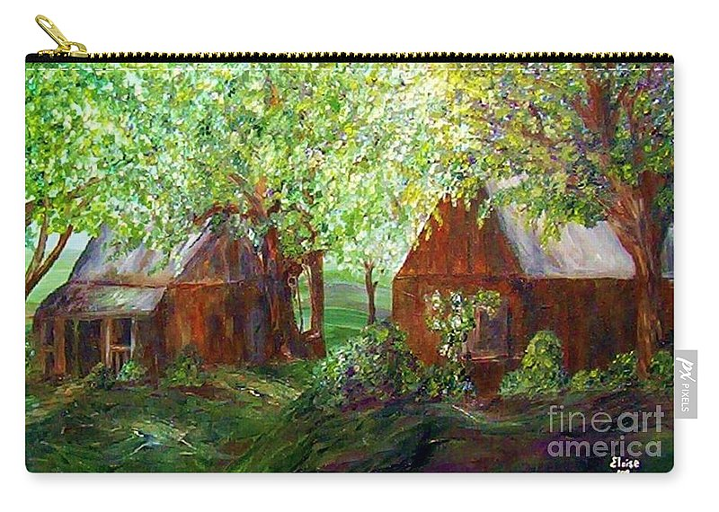 Landscape Carry-all Pouch featuring the painting The Old Swing Between The House And The Barn by Eloise Schneider