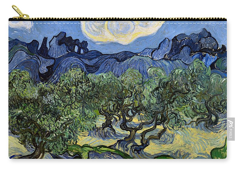 Vincent Van Gogh Carry-all Pouch featuring the digital art The Olive Tree by Vincent Van Gogh