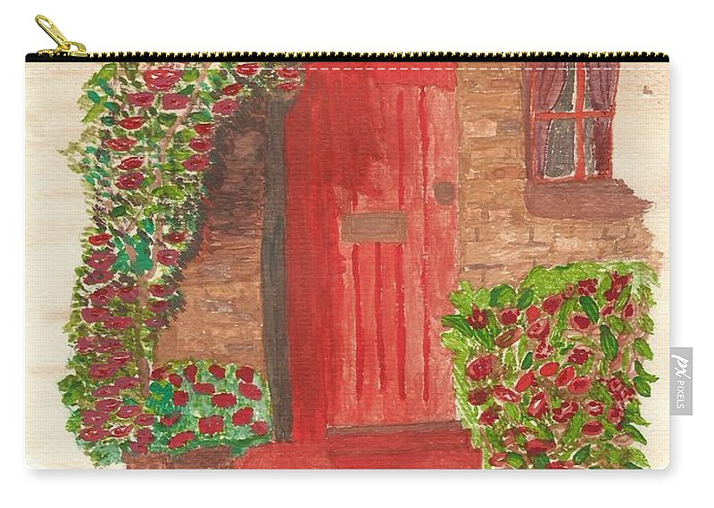 Orange Door Carry-all Pouch featuring the painting The Orange Door by Tracey Williams