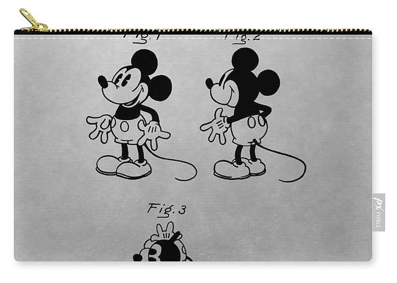 Mickey Mouse Patent Carry-all Pouch featuring the drawing The Original Mickey Mouse Patent Design by Dan Sproul