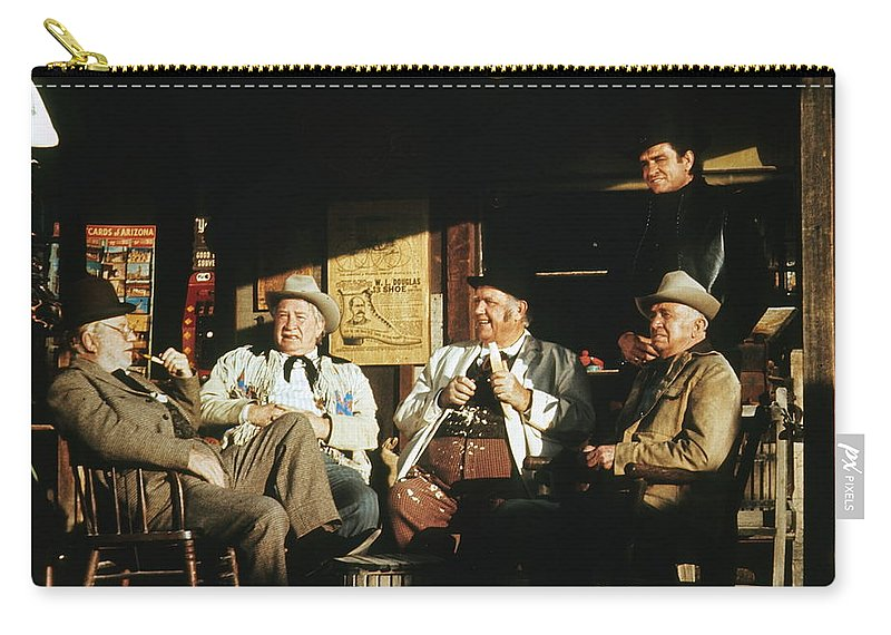 The Over The Hill Gang Johnny Cash Old Tucson Az Western Wear Smoking Whittling Country Store  Porch Edgar Buchanan Chill Wills Andy Devine Walter Brennan  Carry-all Pouch featuring the photograph The Over The Hill Gang Johnny Cash Porch Old Tucson Arizona 1971 by David Lee Guss