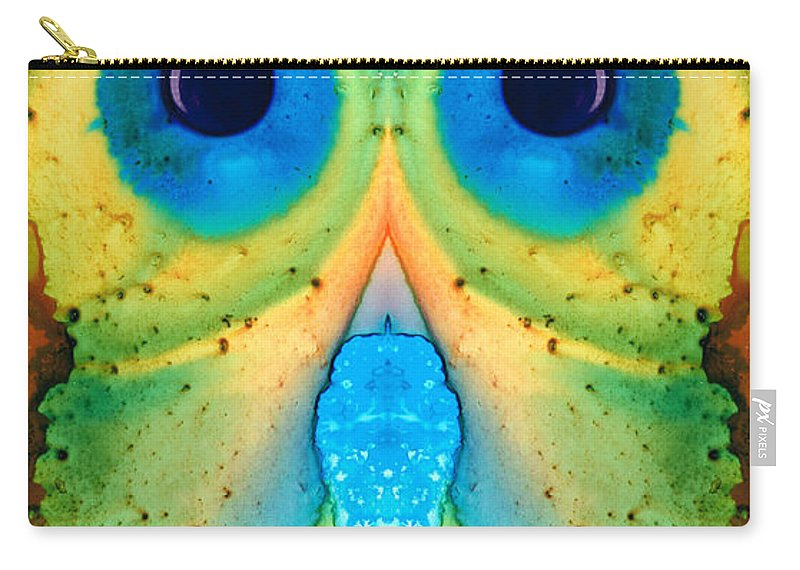 Owl Carry-all Pouch featuring the painting The Owl - Abstract Bird Art By Sharon Cummings by Sharon Cummings