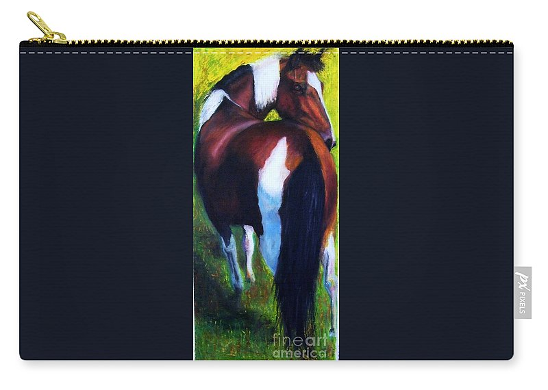 Horses Carry-all Pouch featuring the painting The Paint by Frances Marino