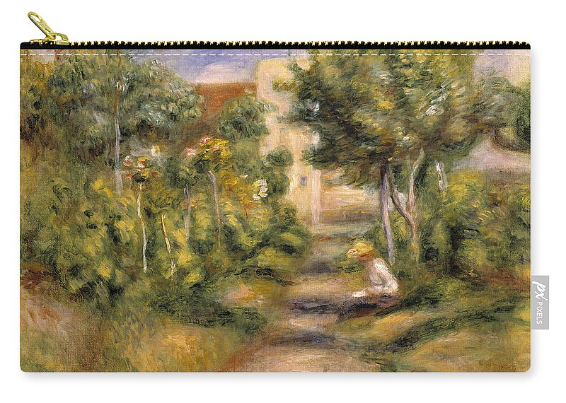 Impressionist Carry-all Pouch featuring the painting The Painters Garden, Cagnes, C.1908 by Pierre Auguste Renoir