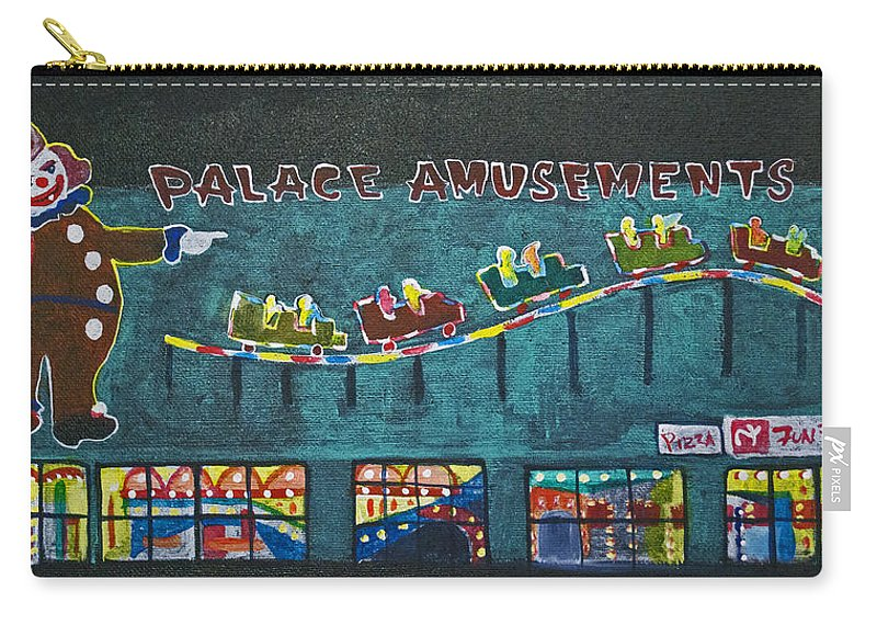 Asbury Park Carry-all Pouch featuring the painting The Palace Clown at Night by Patricia Arroyo