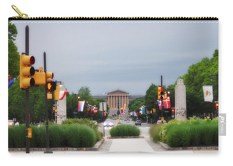 Parkway Carry-all Pouch featuring the photograph The Parkway And Art Museum by Bill Cannon