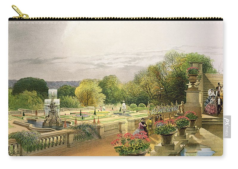 Garden Carry-all Pouch featuring the painting The Parterre Harewood House Near Leeds by E Adveno Brooke
