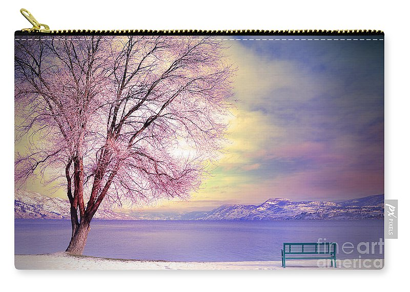 Bench Carry-all Pouch featuring the photograph The Pastel Dreams Of Winter by Tara Turner