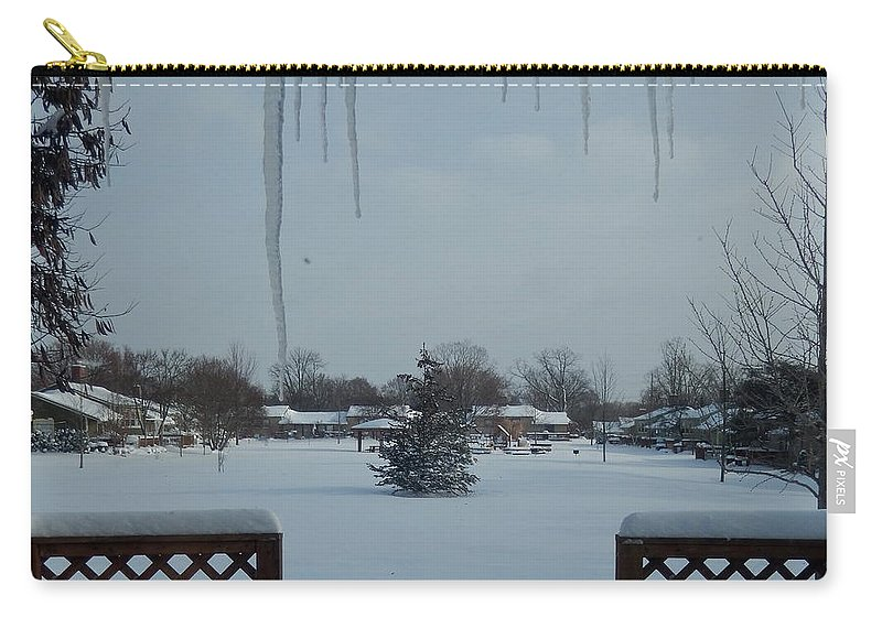 Table Carry-all Pouch featuring the photograph The Patio In Winter by Susan Wyman