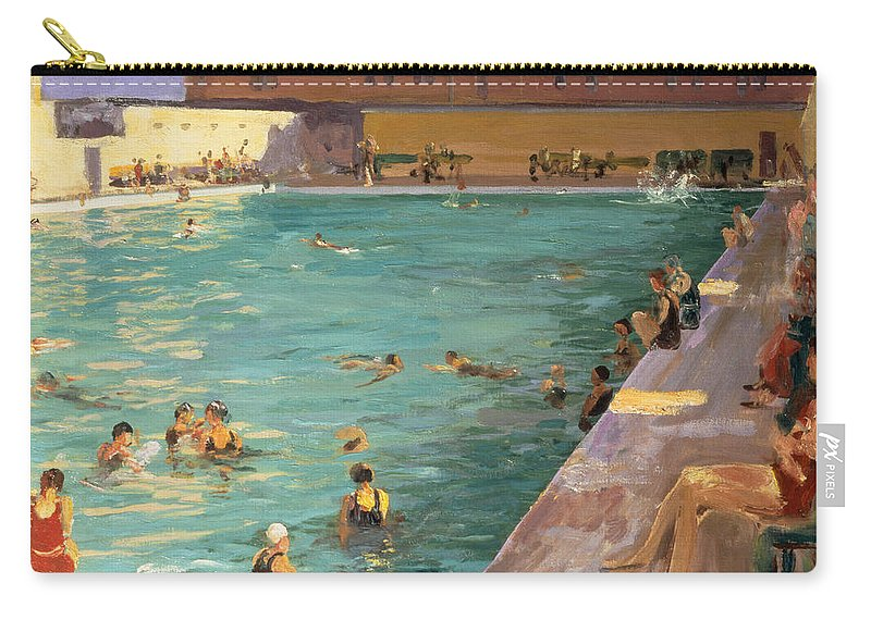 Swimming Carry-all Pouch featuring the painting The Peoples Pool, Palm Beach, 1927 by Sir John Lavery