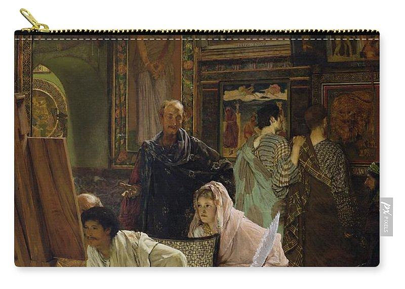 Feather Carry-all Pouch featuring the painting The Picture Gallery, 1874 by Sir Lawrence Alma-Tadema