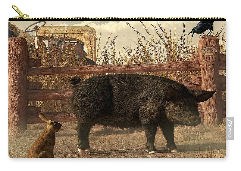 Pig Carry-all Pouch featuring the digital art The Pig And The Hare by Daniel Eskridge