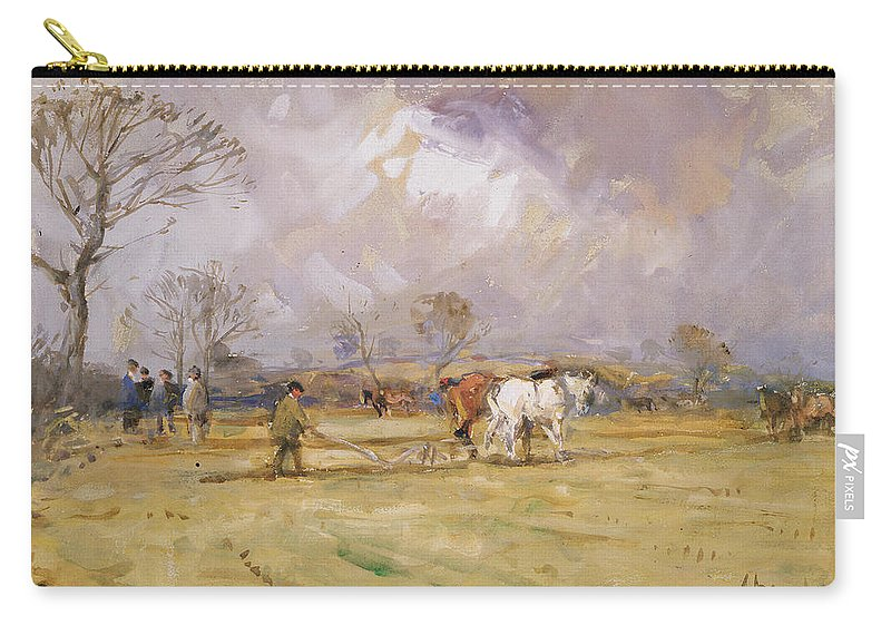 Plow Carry-all Pouch featuring the painting The Plough Team by John Atkinson