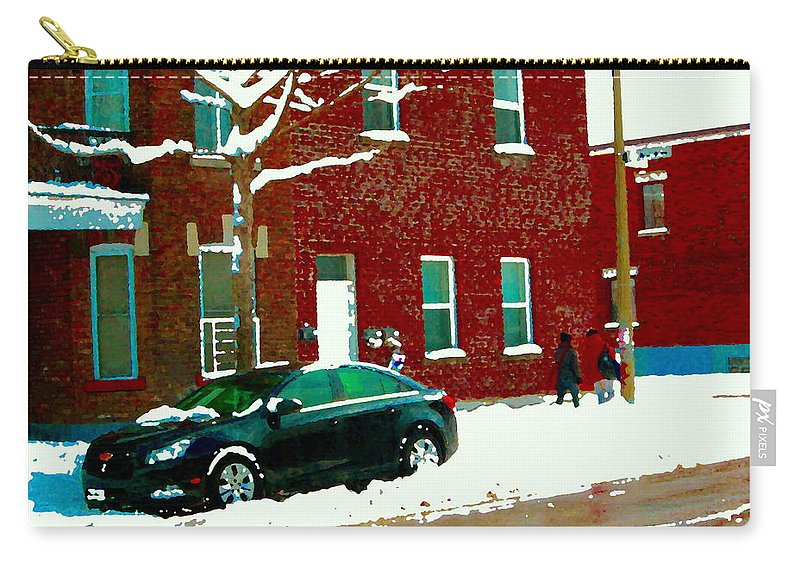 Montreal Carry-all Pouch featuring the painting The Point Pointe St Charles Snowy Walk Past Red Brick House Winter City Scene Carole Spandau by Carole Spandau