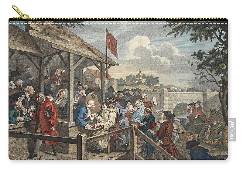 Polling Station Carry-all Pouch featuring the drawing The Polling, Illustration From Hogarth by William Hogarth