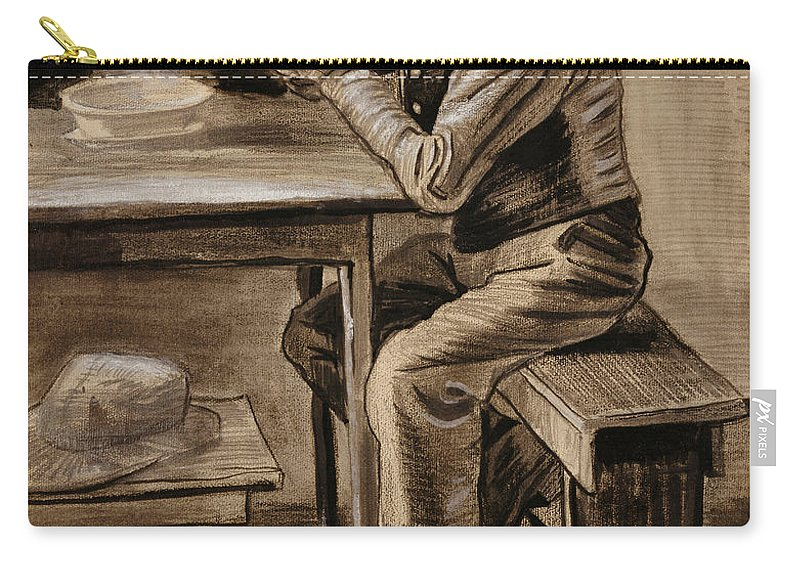 The Prayer By Vincent Van Gogh Carry-all Pouch featuring the drawing The Prayer by Vincent Van Gogh