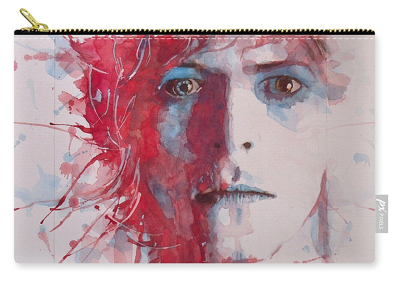 David Bowie Carry-all Pouch featuring the painting The Prettiest Star by Paul Lovering