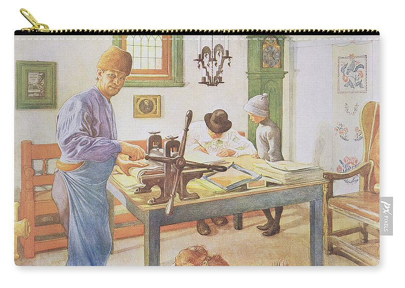 Printer Carry-all Pouch featuring the painting The Print Room, Pub. In Lasst Licht by Carl Larsson
