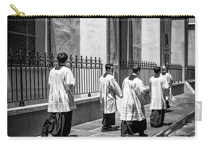 French Quarter Carry-all Pouch featuring the photograph The Procession - Black And White by Kathleen K Parker