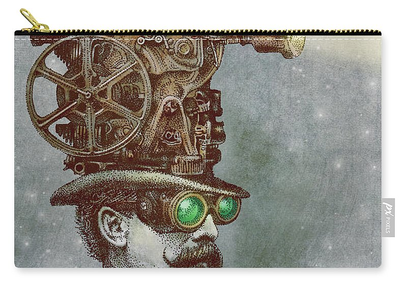 Projector Carry-all Pouch featuring the drawing The Projectionist by Eric Fan