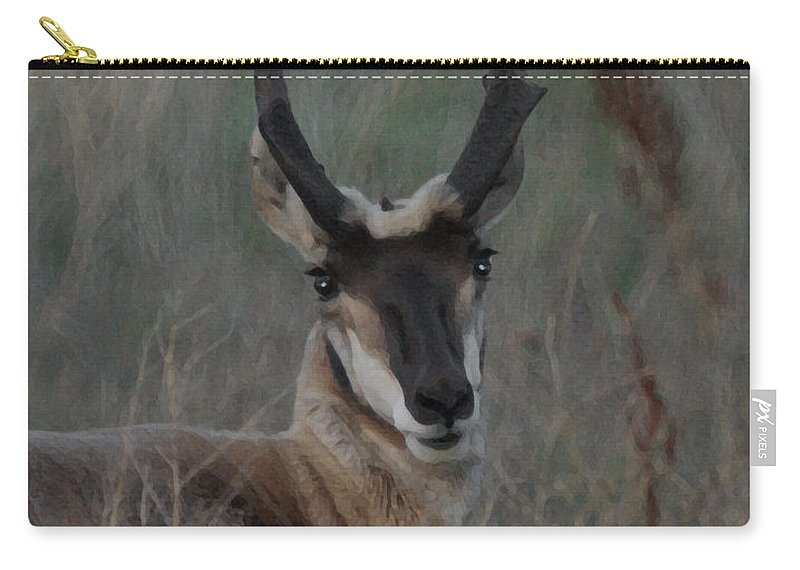 Animals Carry-all Pouch featuring the digital art The Pronghorn 2 Dry Brushed by Ernie Echols