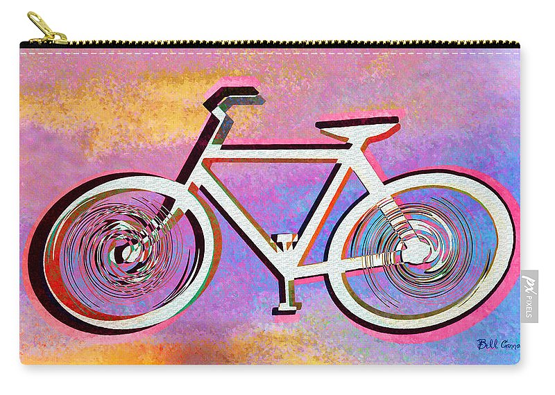 The Psychedelic Bicycle Carry-all Pouch featuring the digital art The Psychedelic Bicycle by Bill Cannon