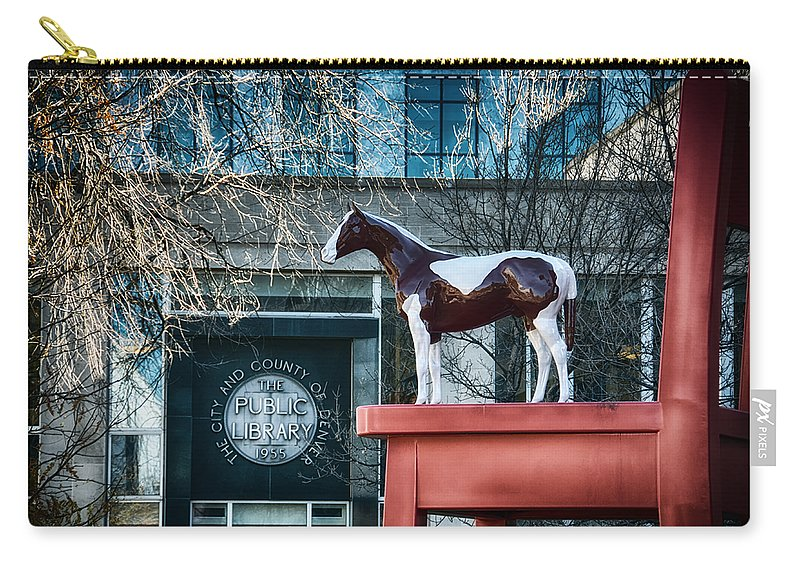 Downtown Carry-all Pouch featuring the mixed media The Public Library 1955 by Angelina Vick