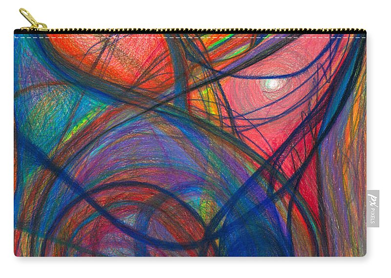 Abstract Carry-all Pouch featuring the drawing The Pulse Of The Heart Lies Strong by Daina White