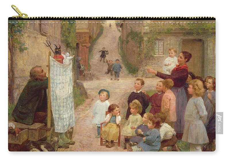Children Carry-all Pouch featuring the painting The Puppet Show by Victor Gabriel Gilbert