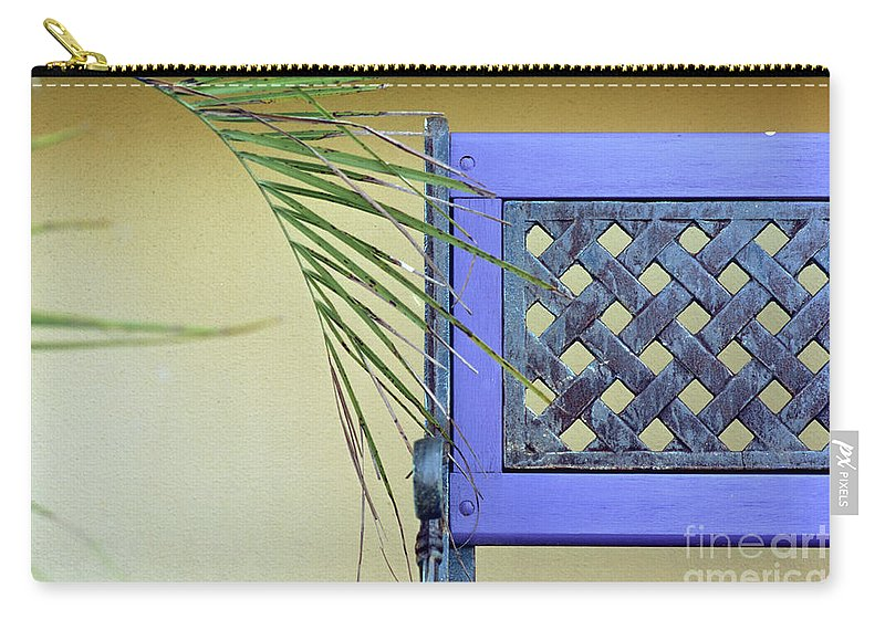 Palm Frond Carry-all Pouch featuring the photograph The Purple Bench by John Harmon