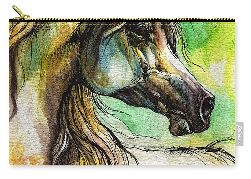 Horse Carry-all Pouch featuring the painting The Rainbow Colored Arabian Horse by Angel Ciesniarska
