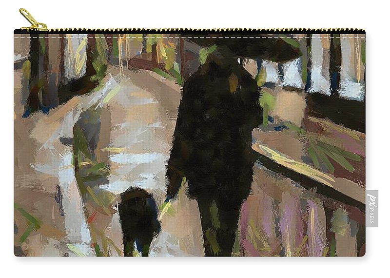Man Carry-all Pouch featuring the painting The Rainy Walk by Dragica Micki Fortuna