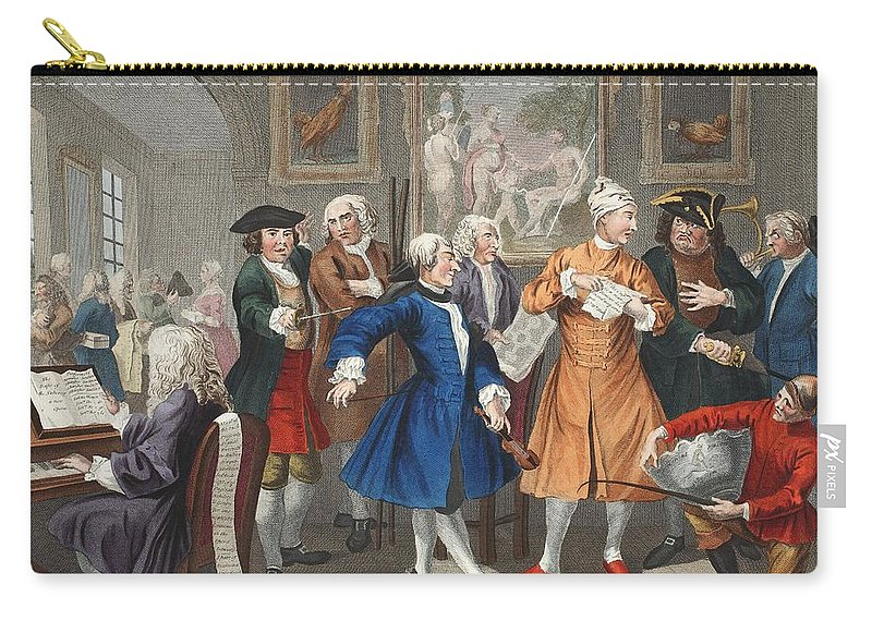 Male Carry-all Pouch featuring the drawing The Rakes Levee, Plate II, From A Rakes by William Hogarth