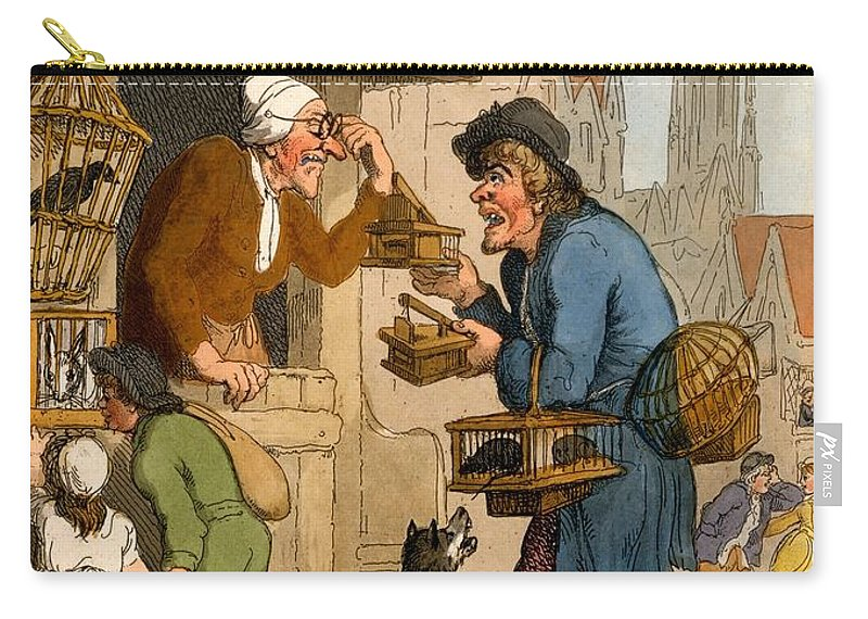Rat Trap Carry-all Pouch featuring the drawing The Rat Trap Seller From Cries by Thomas Rowlandson