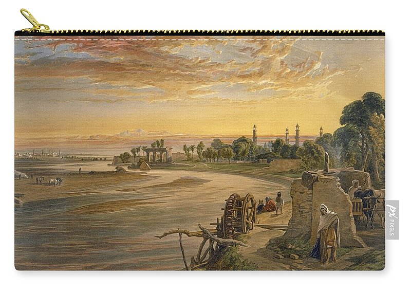 Indian Carry-all Pouch featuring the drawing The Ravee River, From India Ancient by William 'Crimea' Simpson