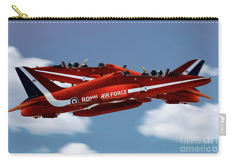 The Red Arrows Raf Carry-all Pouch featuring the digital art The Red Arrows Synchro Pair by J Biggadike